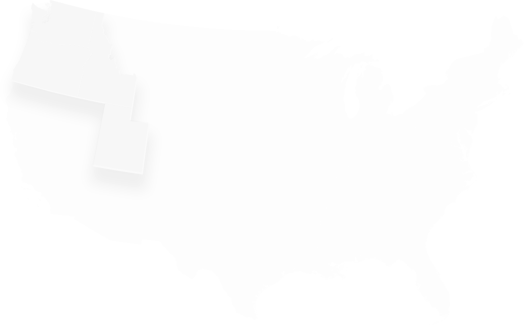 Map of Idaho, Utah, Washington, and Oregon